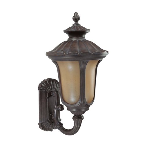 Nuvo Lighting Outdoor Wall Light with Amber Glass in Fruitwood Finish 60/3901