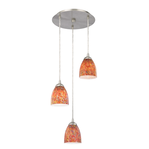 Design Classics Lighting Modern Multi-Light Pendant Light with Art Glass and 3-Lights 583-09 GL1012MB