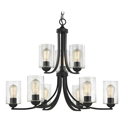 Design Classics Lighting Seeded Glass Chandelier Bronze 2-Tier 9 Lt 586-220 GL1041C