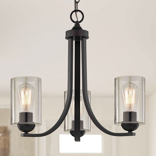 Design Classics Lighting Seeded Glass Mini-Chandelier Bronze 3 Lt 5843-220 GL1041C