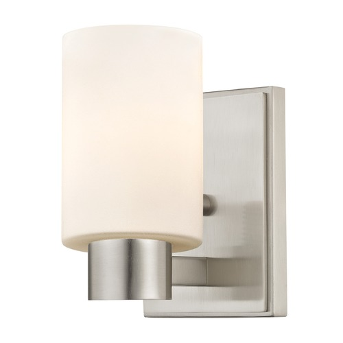Design Classics Lighting Satin White Glass Sconce Satin Nickel 2101-09 GL1028C