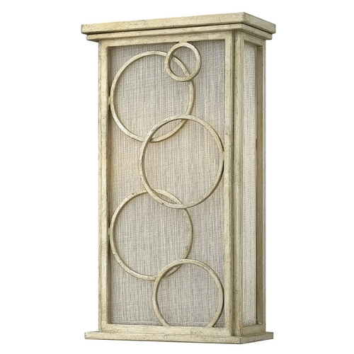 Hinkley Lighting Sconce Wall Light with Beige / Cream Shades in Silver Leaf Finish 3282SL