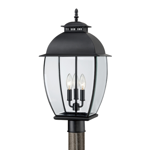 Quoizel Lighting Post Light with Clear Glass in Mystic Black Finish BAN9011K