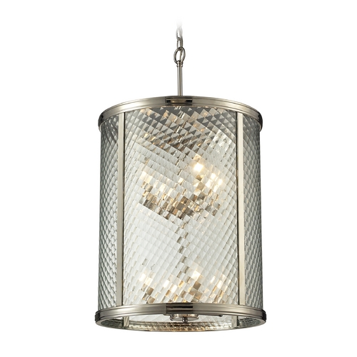 Elk Lighting Pendant Light with Clear Glass in Polished Nickel Finish 31463/8