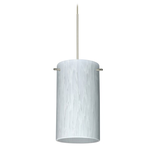 Besa Lighting Besa Lighting Stilo 7 Satin Nickel LED Mini-Pendant Light with Cylindrical Shade 1XT-440419-LED-SN