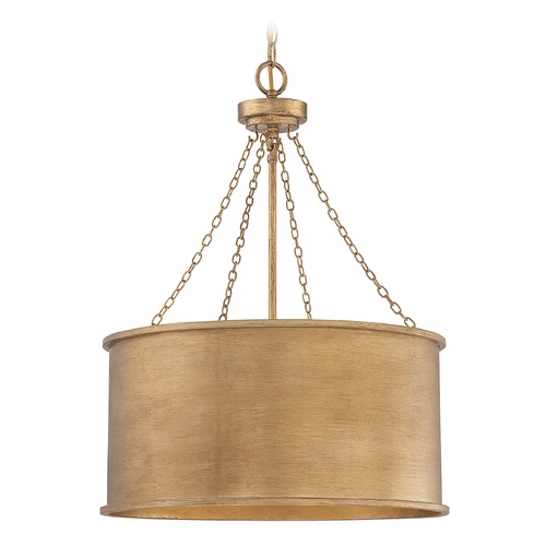 Savoy House Savoy House Lighting Rochester Gold Patina Pendant Light with Drum Shade 7-487-4-54