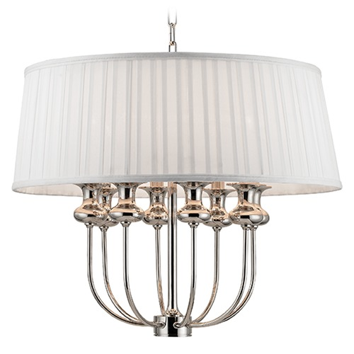 Hudson Valley Lighting Pembroke 8 Light Pendant Light Drum Shade - Polished Nickel 5408-PN