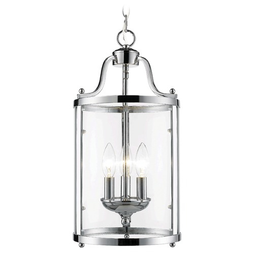 Golden Lighting Golden Lighting Payton Chrome Mini-Pendant with Cylindrical Shade 1157-3P CH