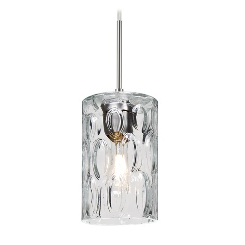 Besa Lighting Besa Lighting Cruise Satin Nickel Mini-Pendant Light with Cylindrical Shade 1JT-CRUSCL-SN