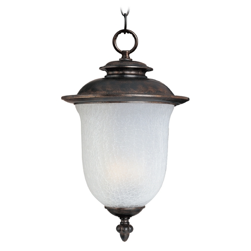 Maxim Lighting Outdoor Hanging Light with White Glass in Chocolate Finish 3098FCCH