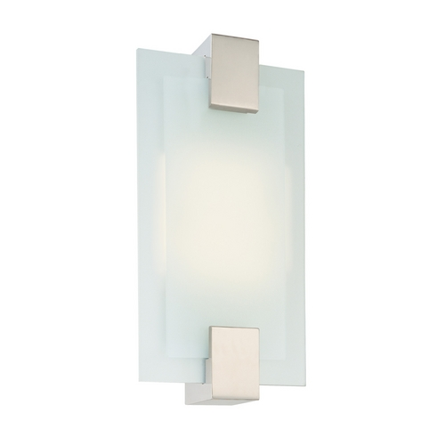 Sonneman Lighting Modern Sconce Wall Light with White Glass in Satin Nickel Finish 3681.13