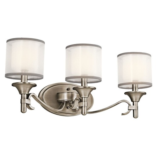 Kichler Lighting Kichler Bathroom Light with White Glass in Antique Pewter Finish 45283AP