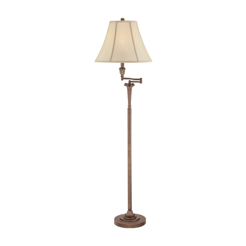 Quoizel Lighting Swing Arm Lamp with White Shade in Palladian Bronze Finish Q1074FPN