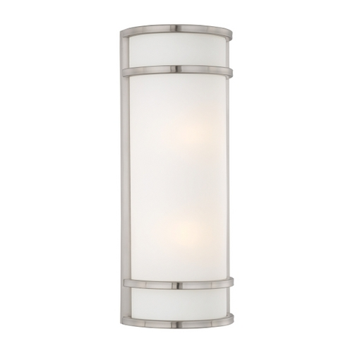 Minka Lavery Outdoor Wall Light with White Glass in Brushed Stainless Steel Finish 9803-144