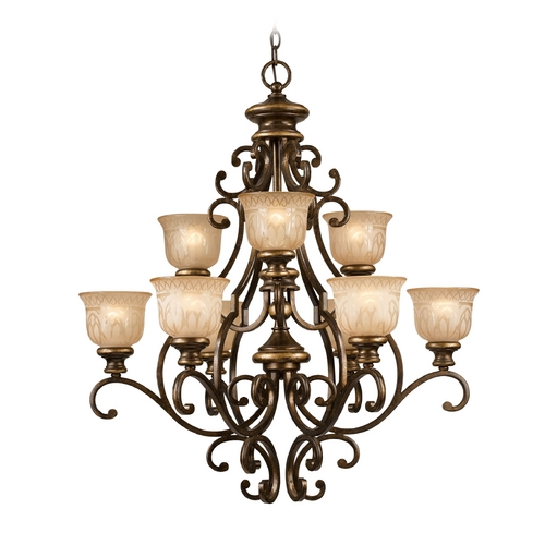 Crystorama Lighting Chandelier with Amber Glass in Bronze Umber Finish 7409-BU