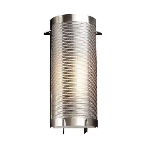 PLC Lighting Modern Sconce Wall Light with White Glass in Satin Nickel Finish 1666 SN