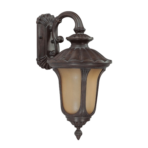 Nuvo Lighting Outdoor Wall Light with Amber Glass in Fruitwood Finish 60/3902