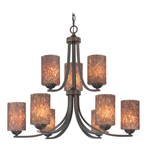 Design Classics Lighting Modern Chandelier with Brown Art Glass in Bronze Finish 586-220 GL1016C