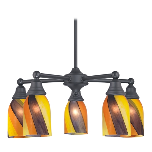 Design Classics Lighting Chandelier with Art Glass in Matte Black Finish 597-07 GL1015D