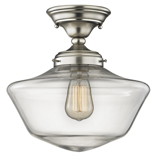 Design Classics Lighting 12-Inch Clear Glass Schoolhouse Ceiling Light in Satin Nickel Finish FAS-09 / GA12-CL