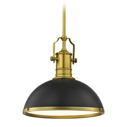 Design Classics Lighting Industrial Metal Pendant Light Black / Brass  13.38-Inch Wide 1765-12 SH1776-07 R1776-12