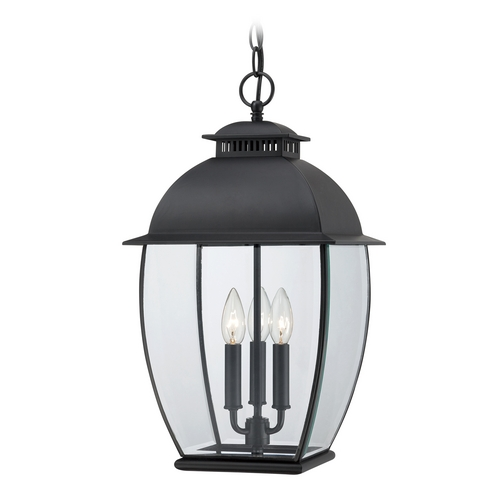 Quoizel Lighting Outdoor Hanging Light with Clear Glass in Mystic Black Finish BAN1911K