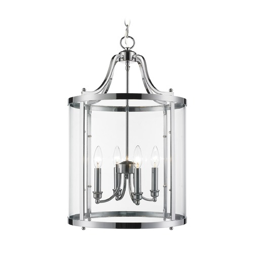 Golden Lighting Golden Lighting Payton Chrome Pendant Light with Cylindrical Shade 1157-4P CH