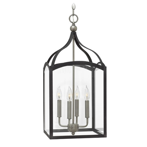 Hinkley Lighting Hinkley Lighting Clarendon Aged Zinc Pendant Light with Rectangle Shade 3415DZ