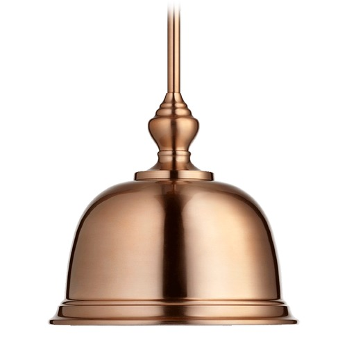Quorum Lighting Quorum Lighting Satin Copper Pendant Light with Bowl / Dome Shade 803-14-49