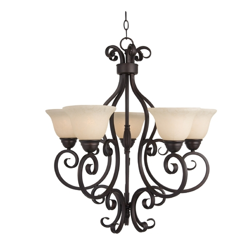 Maxim Lighting Chandelier with Ivory Glass in Oil Rubbed Bronze Finish 12205FIOI