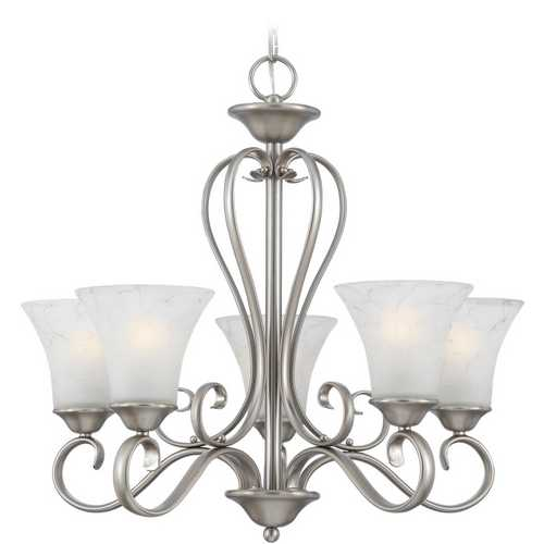 Quoizel Lighting Quoizel 5-Light Chandelier with Grey Glass in Antique Nickel DH5005AN