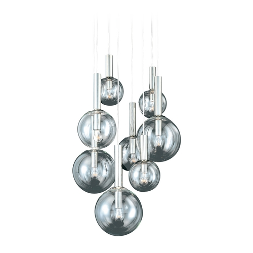 Sonneman Lighting Modern Multi-Light Pendant with Clear Glass in Polished Nickel Finish 3768.35