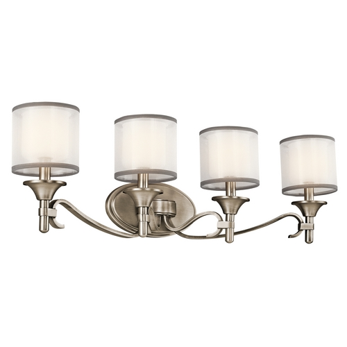 Kichler Lighting Kichler Bathroom Light with White Glass in Antique Pewter Finish 45284AP