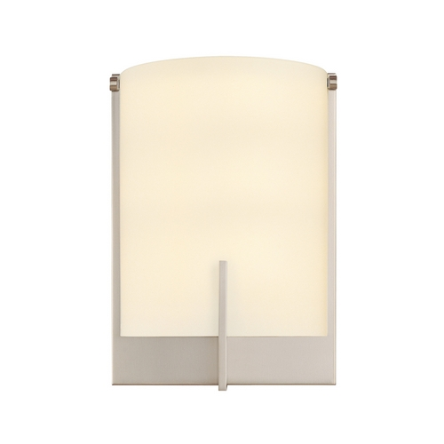 Sonneman Lighting Modern Sconce Wall Light with White Glass in Satin Nickel Finish 3671.13F