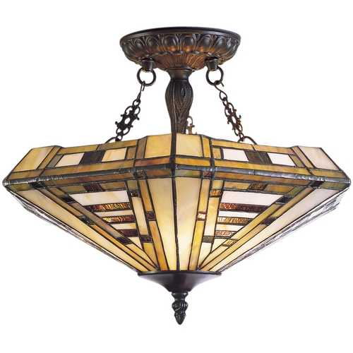 Elk Lighting Semi-Flushmount Light with Multi-Color Glass in Classic Bronze Finish 600-CB