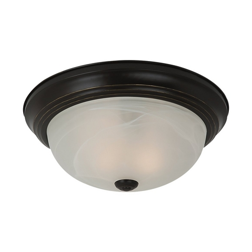 Sea Gull Lighting Flushmount Light with Alabaster Glass in Heirloom Bronze Finish 75943-782