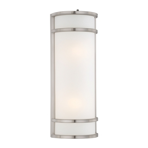 Minka Lavery Modern Outdoor Wall Light with White Glass in Brushed Stainless Steel Finish 9803-144-PL