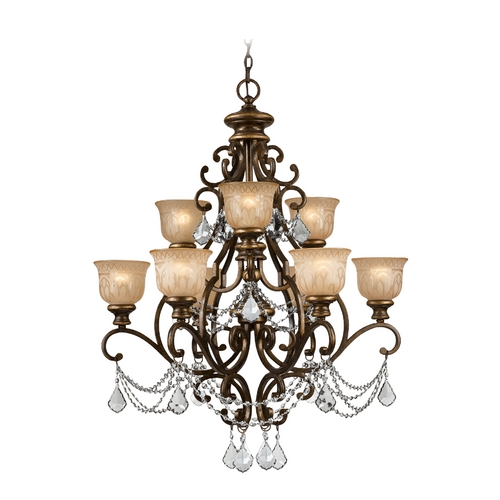 Crystorama Lighting Crystal Chandelier with Amber Glass in Bronze Umber Finish 7509-BU-CL-MWP
