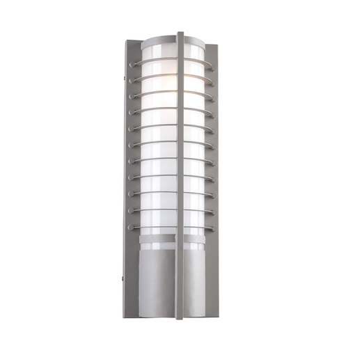 PLC Lighting Modern Outdoor Wall Light with White Glass in Silver Finish 16652 SL