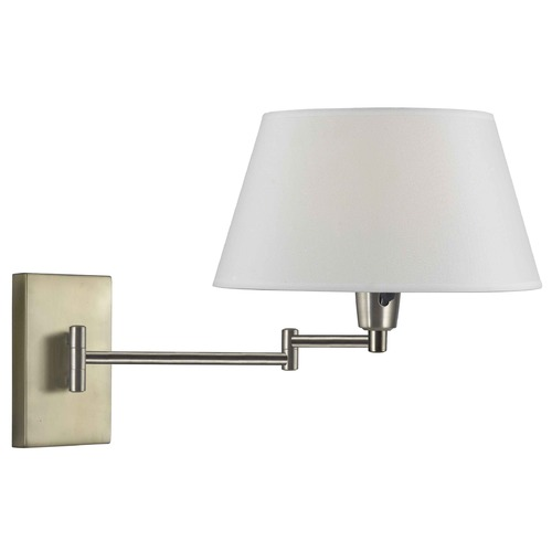 Kenroy Home Lighting Modern Swing Arm Lamp with Beige / Cream Shade in Vintage Brass Finish 30100VB