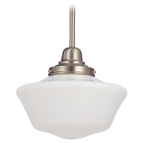 Design Classics Lighting 10-Inch Satin Nickel Schoolhouse Mini-Pendant Light FB4-09 / GA10
