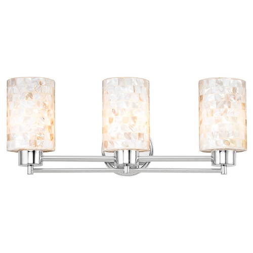 Design Classics Lighting Bathroom Light with Mosaic Glass in Chrome Finish 703-26 GL1026C