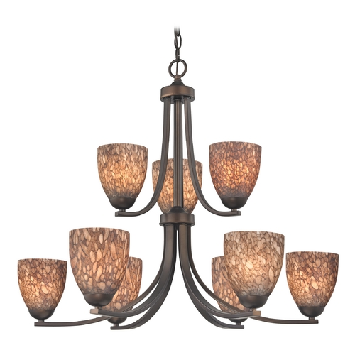 Design Classics Lighting Modern Chandelier with Brown Art Glass in Neuvelle Bronze Finish 586-220 GL1016MB