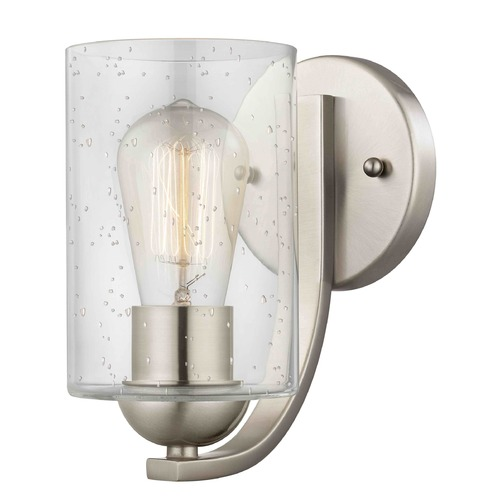 Design Classics Lighting Seeded Glass Sconce Satin Nickel 585-09 GL1041C