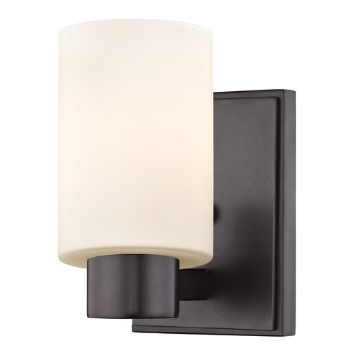 Design Classics Lighting Satin White Glass Sconce Bronze 2101-220 GL1028C