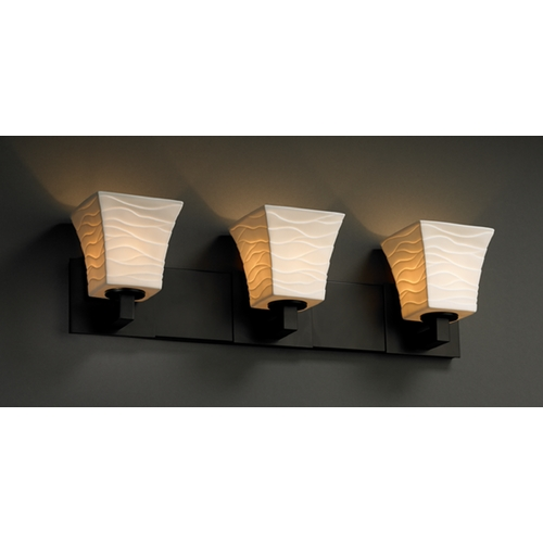 Justice Design Group Justice Design Group Limoges Collection Bathroom Light POR-8923-40-WAVE-MBLK