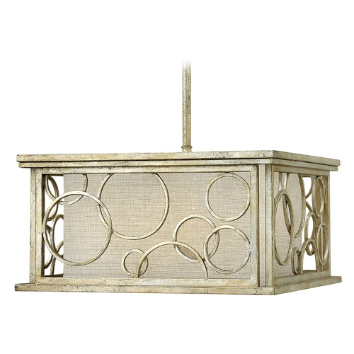 Hinkley Lighting Pendant Light with Beige / Cream Shades in Silver Leaf Finish 3285SL