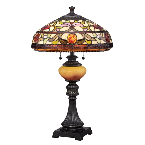 Quoizel Lighting Table Lamp with Multi-Color Glass in Imperial Bronze Finish TF1575TIB