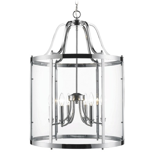 Golden Lighting Golden Lighting Payton Chrome Pendant Light with Cylindrical Shade 1157-6P CH