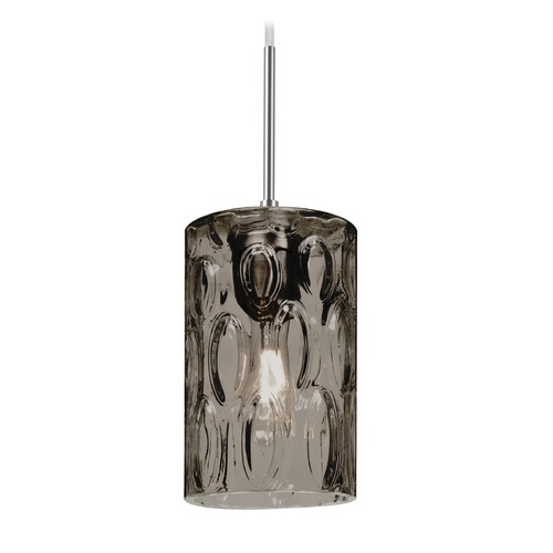 Besa Lighting Besa Lighting Cruise Satin Nickel Mini-Pendant Light with Cylindrical Shade 1JT-CRUSSM-SN
